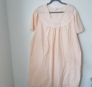 Peach Lace and Embroidered Nightgown